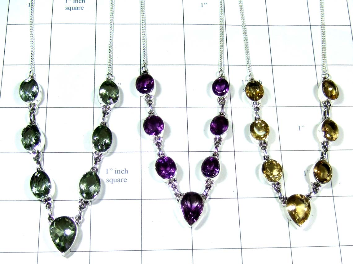 Sterling silver gems Necklaces-jyn023