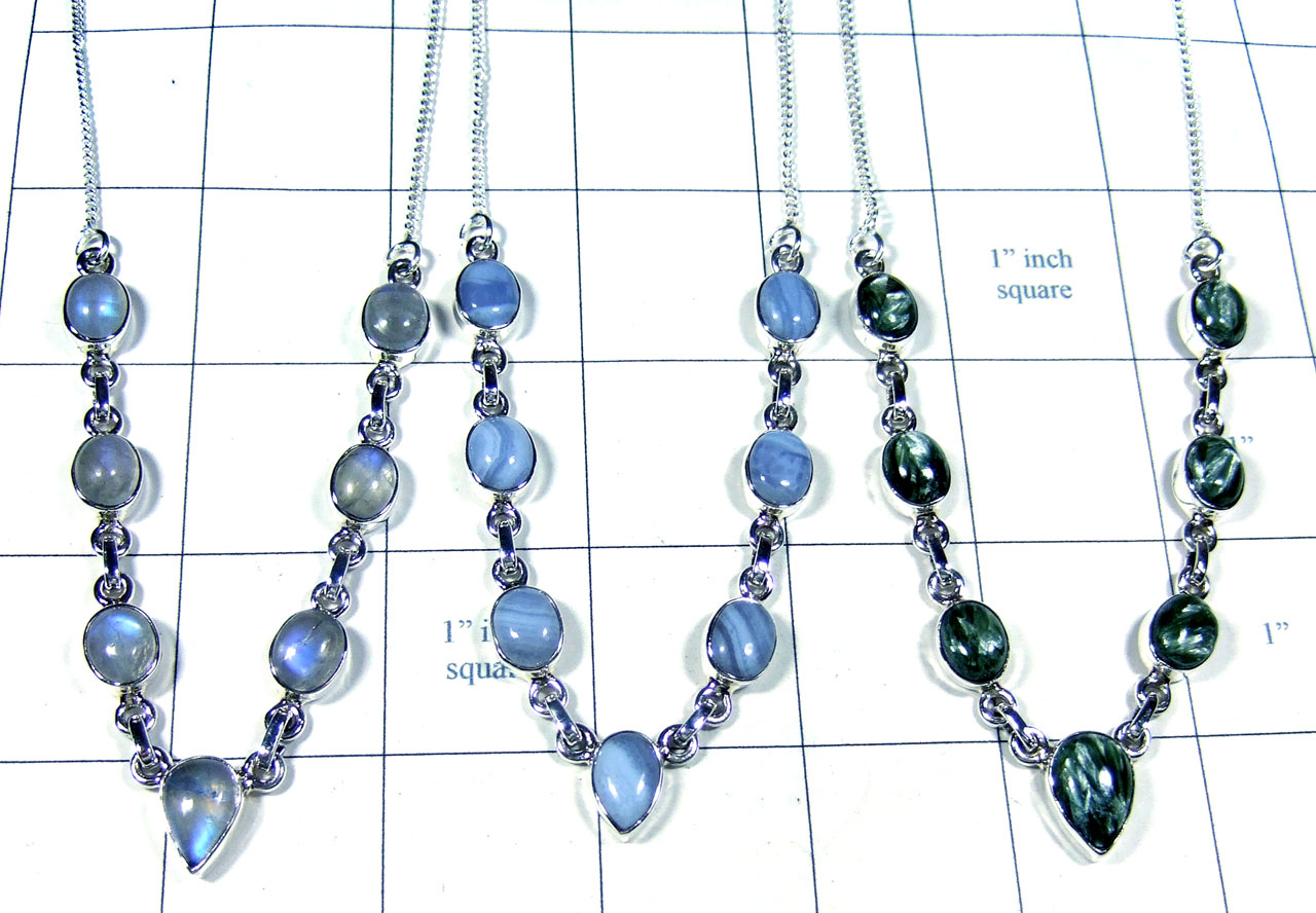 3 Pcs Beautiful silver gems Necklaces - Jyn025