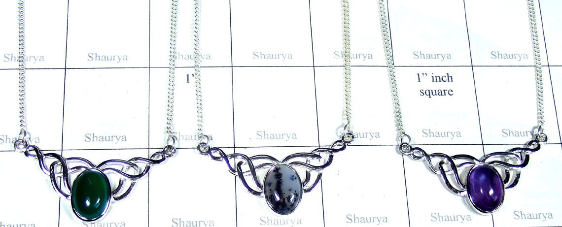 3 Pcs Handmade silver gems Necklaces - Jyn028