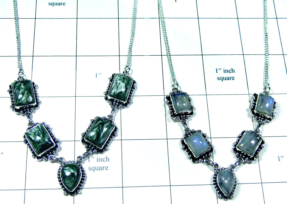 2 Pcs Beautiful silver gems Necklaces - Jyn029