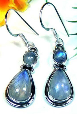 Stunning Rainbow Moonstone Earrings-LB694