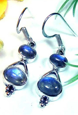 Blue Fire Rainbow Moonstone Earrings-LB697