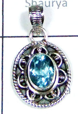 Sterling silver Blue Topaz Pendant-LCP002