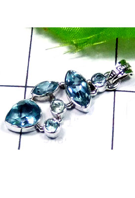 Low cost silver with Blue topaz Pendant-LCP003