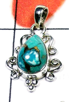 Blue copper Turquoise small Pendant-KP863