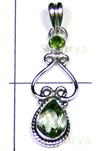 Green Amethyst Silver Pendant-LCP009