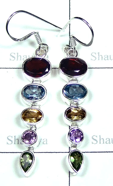 Silver faceted Earring-QCE034