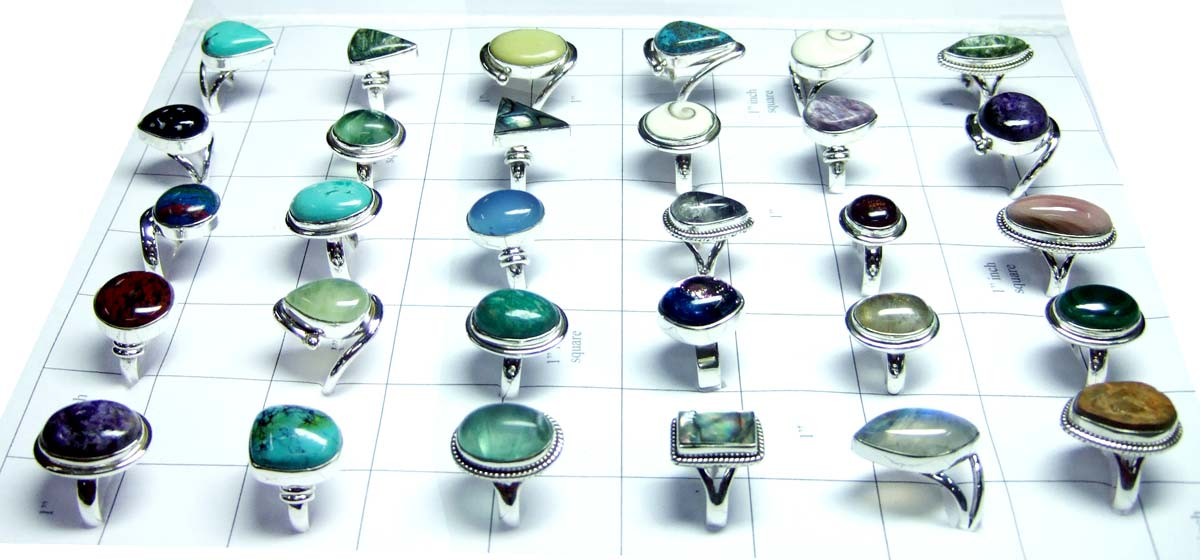 Wholesale Silver Gemstone Rings India-QWLR50
