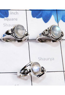 RBS778-Wholesale Lot 3 Pcs Lightweight Trendy Rings Rainbow Moonstone Cab Gemstone Made In 925 Sterling Silver