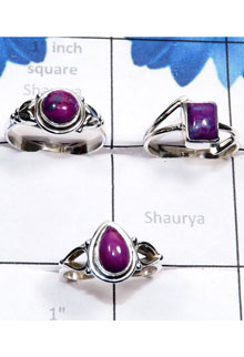 RBS788-Semiprecious Cab Purple Turquoise With 925 Sterling Silver 3 Pcs Ring Wholesale Lot