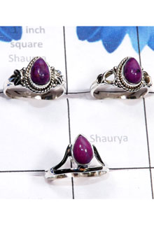RBS787-925 Sterling Silver Purple Turquoise Gemstone 3 Pcs Beautiful Ring Wholesale Lot