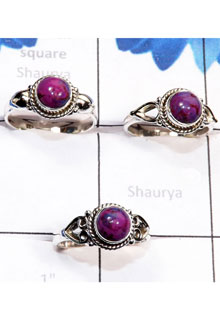 RBS786-Wholesale Lot 3 Pcs Trendy Ring Purple Turquoise Cab Gemstone With 925 Sterling Silver