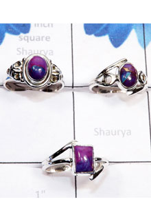 RBS784-Handmade Purple Turquoise Cab Gemstone 3 Pcs Beautiful Ring With 925 Sterling Silver Wholesale Lot