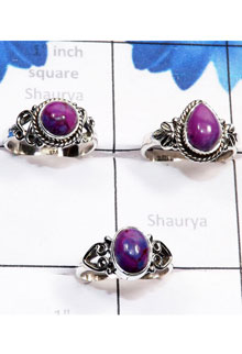 RBS783-Beautiful 3 Pcs Ring With 925 Sterling Silver Purple Turquoise Cab Gemstone Wholesale Lot