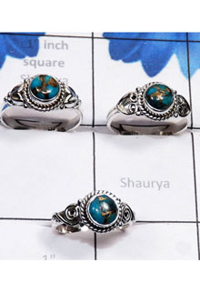 RBS799-Wholesale Lot Blue Copper Turquoise Gemstone Made In 925 Sterling Silver 3 Pcs Rings