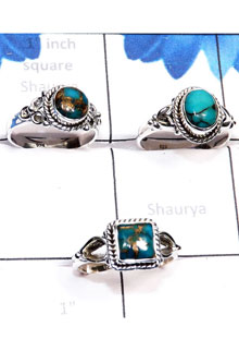 RBS796-Handmade 3 Pcs Rings Wholesale Lot Blue Copper Turquoise Gemstone With 925 Sterling Silver