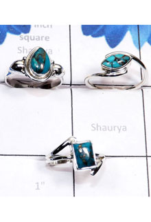RBS795-3 Pcs Beautiful Ring Made In 925 Sterling Silver Blue Copper Turquoise Gemstone Wholesale Lot