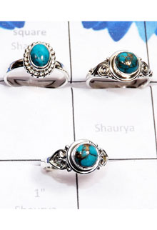 RBS794-Blue Copper Turquoise Gemstone 3 Pcs Trendy Rings Made In 925 Sterling Silver Wholesale Lot