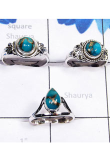RBS793-Handmade Blue Copper Turquoise Gemstone 3 Pcs Trendy Ring With 925 Sterling Silver Wholesale Lot