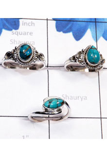 RBS791-3 Pcs Rings Made In 925 Sterling Silver Blue Copper Turquoise Gemstone Handmade Wholesale Lot
