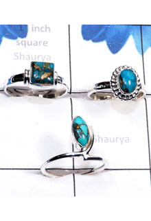 RBS790-3 Pcs Beautiful Ring Made In 925 Sterling Silver Blue Copper Turquoise Gemstone Wholesale Lot