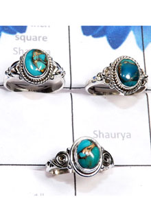 RBS789-925 Sterling Silver 3 Pcs Trendy Rings Blue Copper Turquoise Gemstone Wholesale Lot