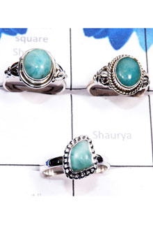 RBS808-925 Sterling Silver Larimar Gemstone 3 Pcs Trendy Ring Wholesale Lot