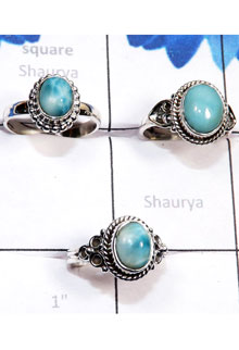 RBS802-925 Sterling Silver 3 Pcs Beautiful Ring Larimar Gemstone Wholesale Lot