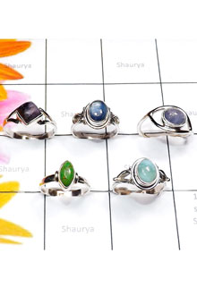 RBS862-Genuine Cab Gemstone 925 Sterling Silver 5 PCS Lightweight Ring Wholesale Lot