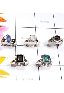 RBS863-Wholesale Lot Semiprecious Gemstone Made In 925 Sterling Slver 5 Pcs Beautiful Ring