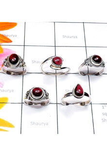 RBS894-Genuine Garnet Cab Gemstone With 925 Sterling Silver Wholesale Lot Small Size Ring