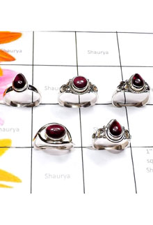 RBS892-Wholesale Lot Garnet Cab Gemstone Small Size Designer Ring With 925 Sterling Silver