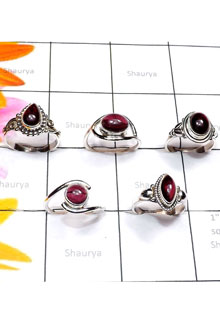 RBS891-5 Pcs Handmade Genuine Cab Garnet Gemstone With 925 Sterling Silver Wholesale Lot