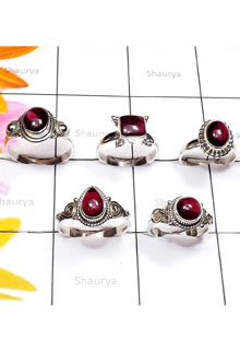 RBS889-Handmade Genuine Garnet Cab Gemstone With 925 Sterling Silver 5 Pcs Small Size Ring