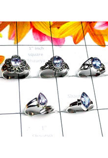 RBS993-Wholesale Lot With 925 Sterling Silver Multi Cut Gemstone 5 Pcs Baby Ring