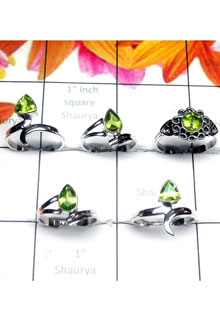 RBS997- Wholesale Lot 925 Sterling Silver With Cut Gemstone Baby Ring 5 Pcs