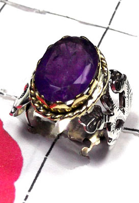 Faceted Amethyst silver Brass 2 Tone Ring-RI-9