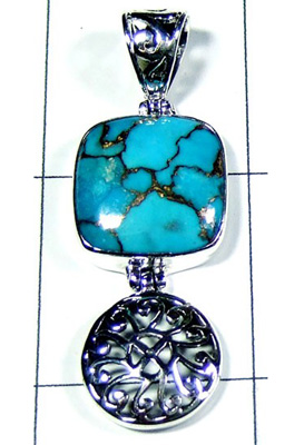Blue Copper Turquoise 925 Sterling Silver Pendant-S10P258