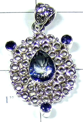 Exclusive Silver Design Blue Mystic Pendant-S10P279
