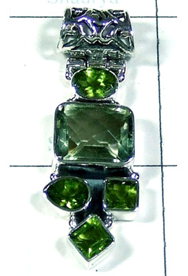 Cut Green Amethyst Gemstone Pendant-S10P280