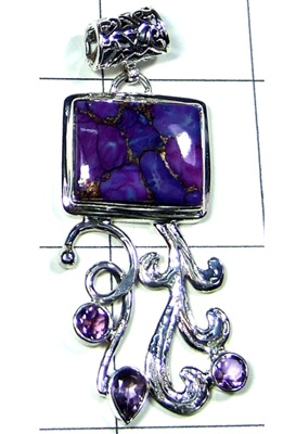 Purple Copper Turquoise with Amethyst Pendant-S10P285