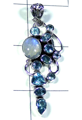 Wholesale Silver Rainbow Moonstone Pendant-S10P287