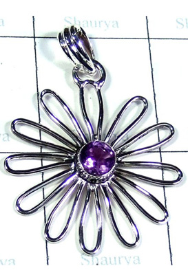 Faceted Amethyst Gemstone Fancy Pendant-S10P335