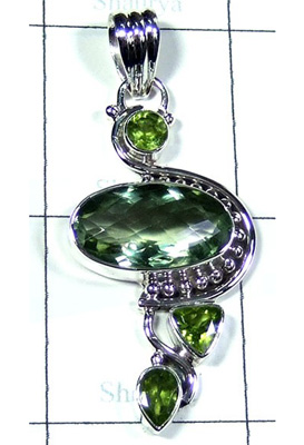 Faceted Green Amethyst Designer Pendant-S10P336