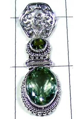 Exclusive Design Green Amethyst Gemstone Pendant-S10P338