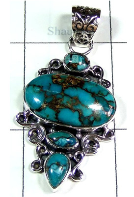Creative Design Blue Copper Turquoise Pendant-S10P360