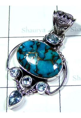 Blue Copper Turquoise with Blue Topaz Pendant-S10P361