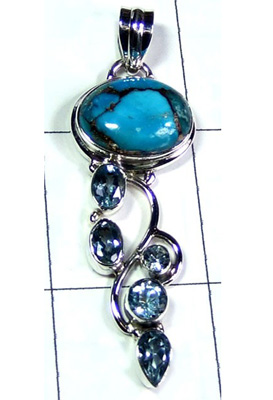 Blue Copper Turquoise with Blue Topaz Designer Pendant-S10P366