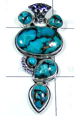 Elegant Blue Copper Turquoise Lovely Pendant-S10P370