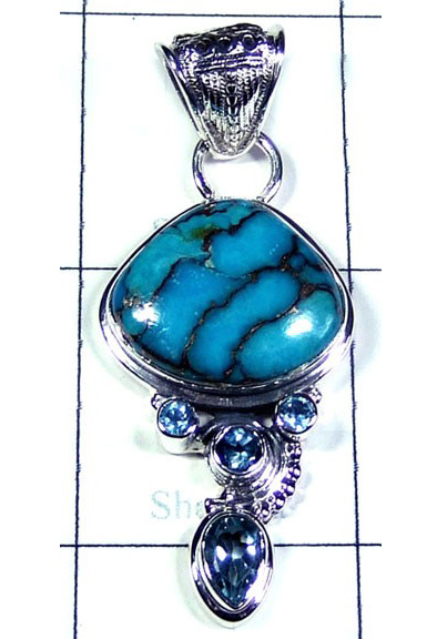 Blue Copper Turquoise with Blue Topaz Pendant-S10P376